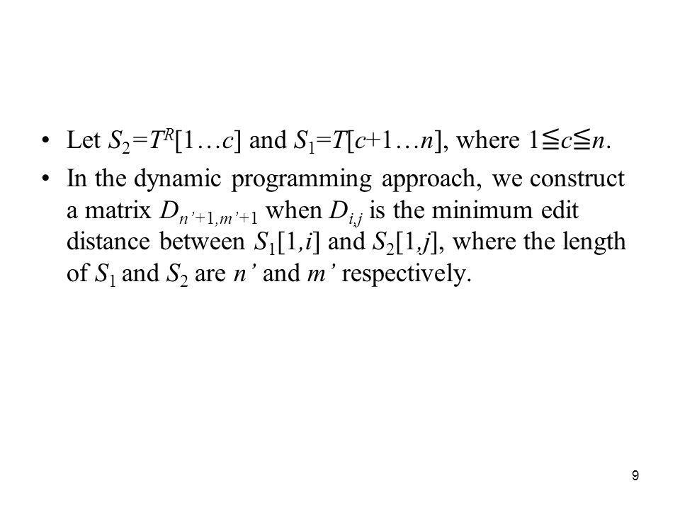 Let S2=TR[1…c] and S1=T[c+1…n], where 1≦c≦n.